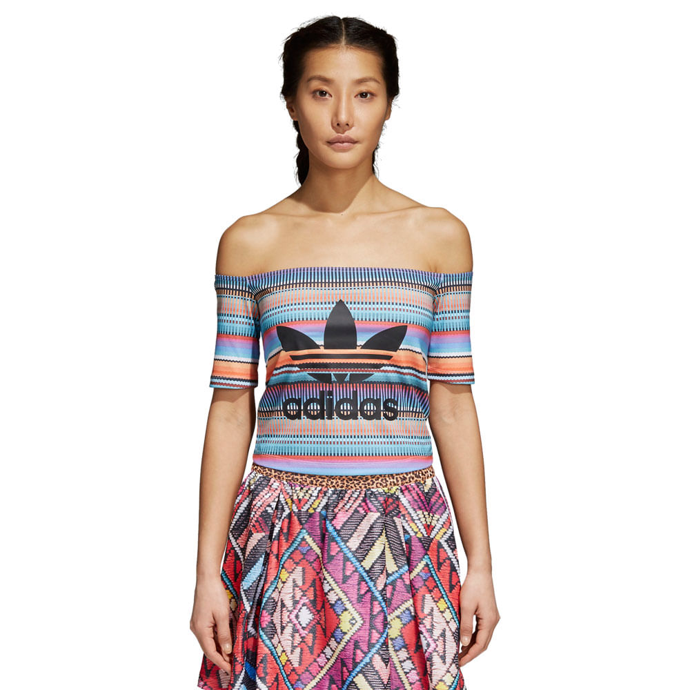 Camiseta-adidas-Off-Shoulder-Farm-Feminina-Multicolor