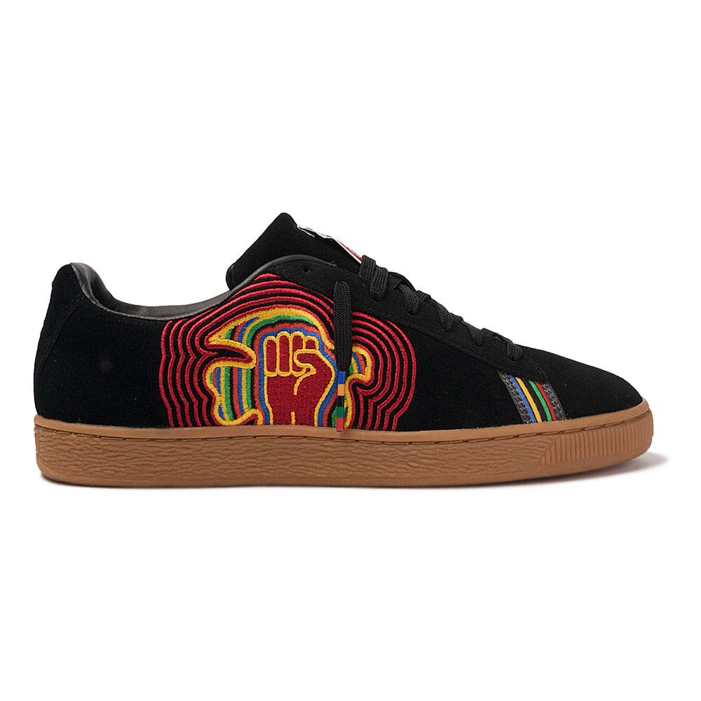 Tenis-Puma-Suede-X-Power-Through-Peace-America-Preto