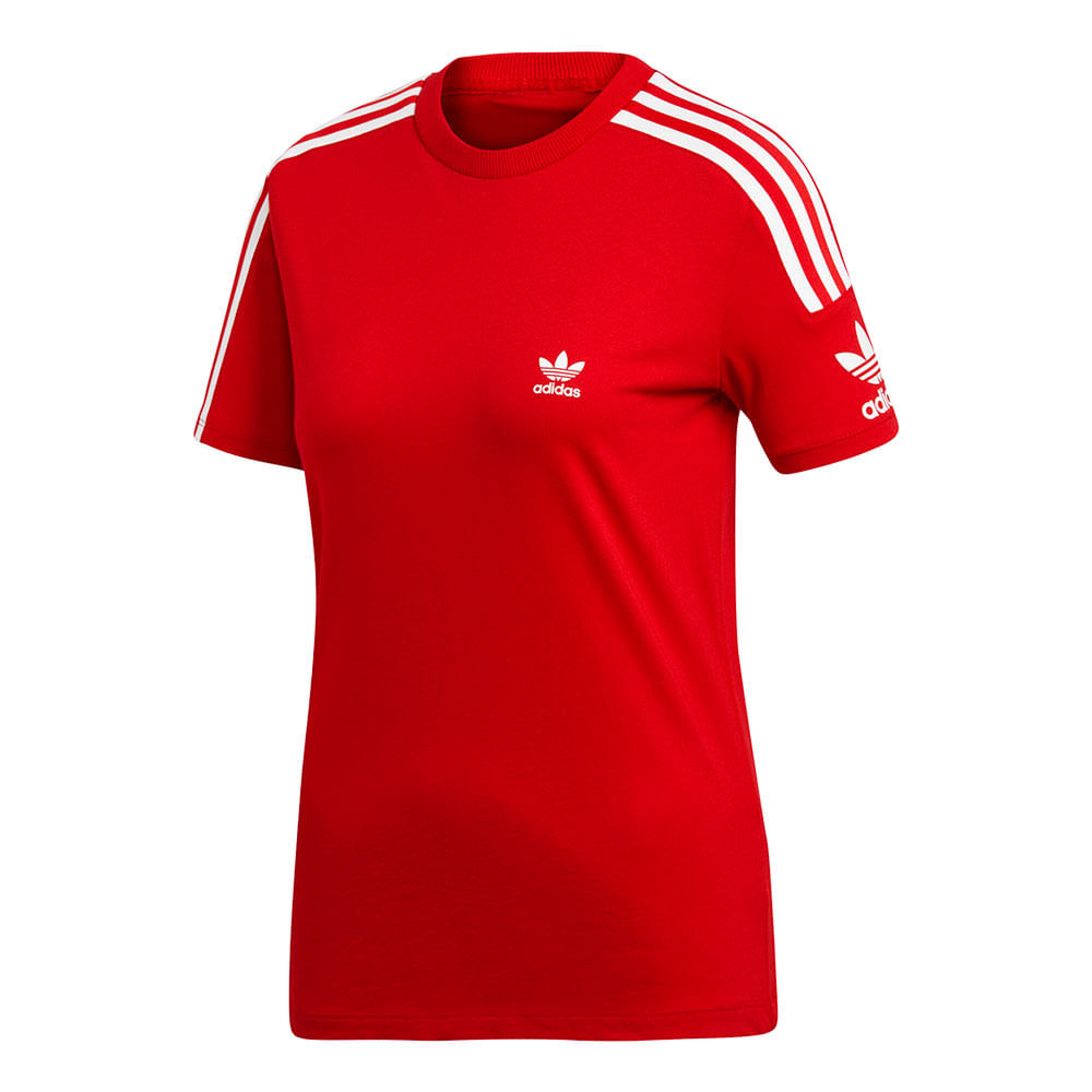 Camiseta-adidas-3-Stripes-Feminina-Vermelha