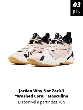 03-06-2020 - Tenis Jordan Why Not Zer0.3 Washed Coral Rosa Masculino CD300-3-600